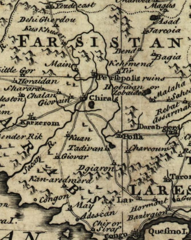 نقشه محدوده فارس در قسمتی از نقشه ایران در دوره افشاریه و متصل بودن آن به خلیج فارس