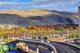 پل طبقاتی معالی آباد در طبیعت پاییزی شیراز
