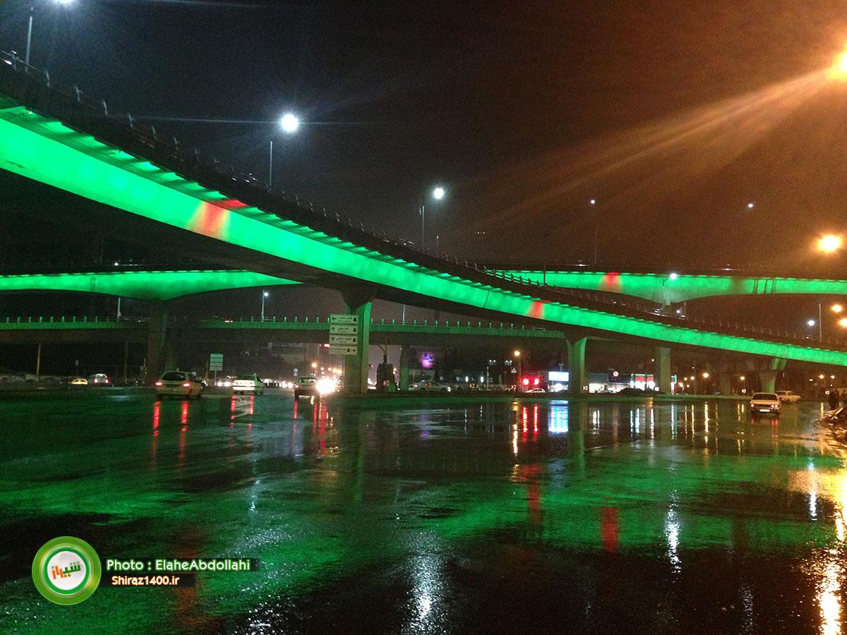 عکس : پل طبقاتی معالی آباد در شبی بارانی