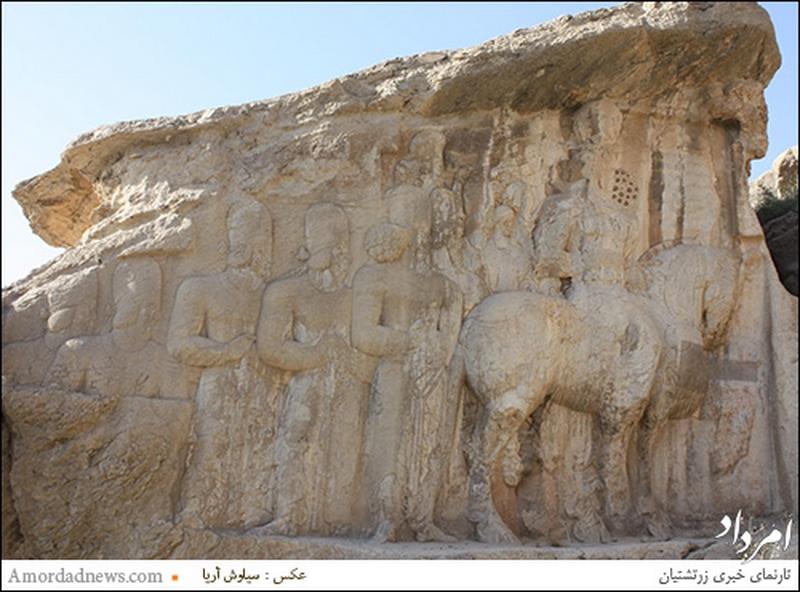 نگاره شاهپور یکم ساسانی و درباریانش