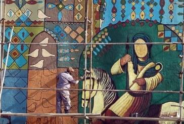 خلق بزرگترین نقاشی دیواری در شیراز به پایان نزدیک است