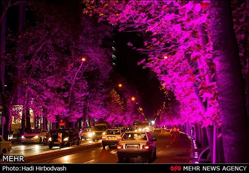 نورپردازی خیابان ولی عصر تهران