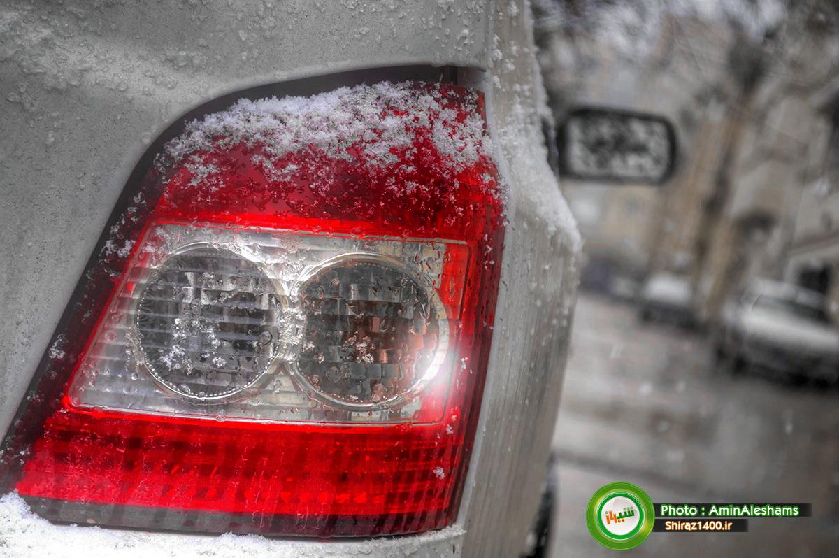 آغاز بارش نخستین برف زمستانی در شیراز