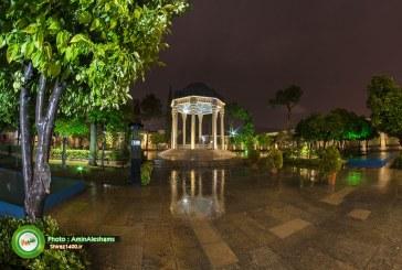 گزارش تصویری : آرامگاه حافظ در شبی بارانی