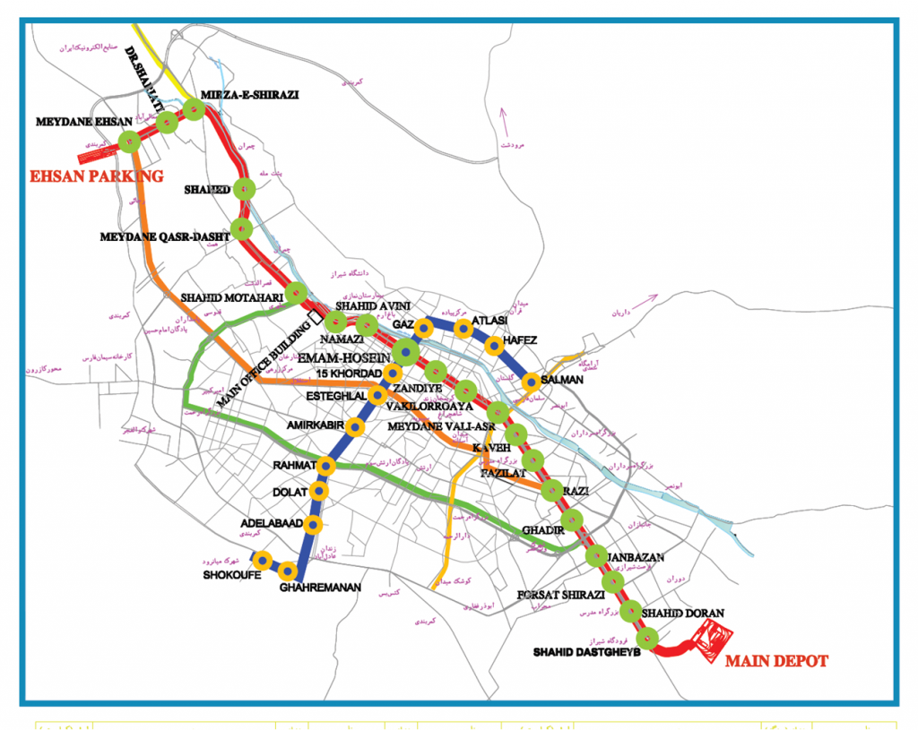 نقشه خطوط مترو شیراز