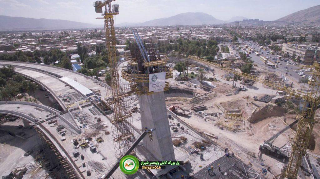 نصب هم ورک تیوبها در پایلون پل کابلی ولیعصر شیراز