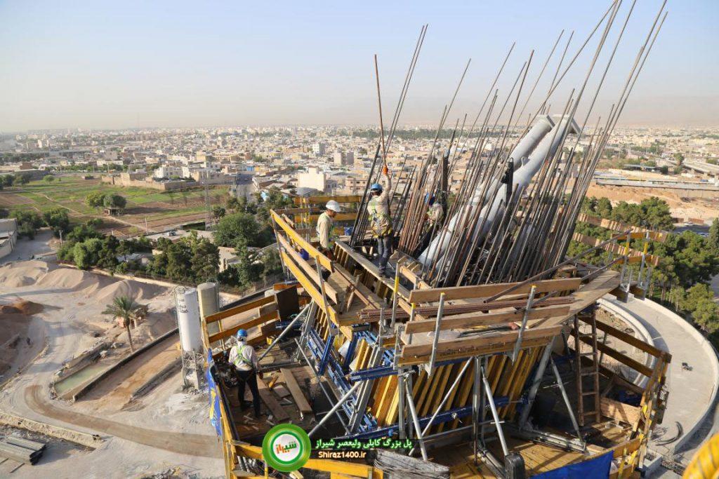 نصب هم ورک تیوبها در پایلون پل کابلی شیراز