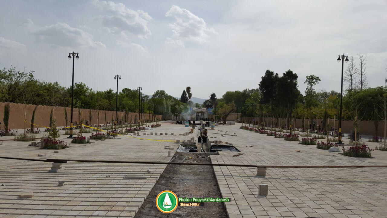گزارش تصویری : ایجاد پیاده راه در مسیر ورودی باغ عفیف آباد