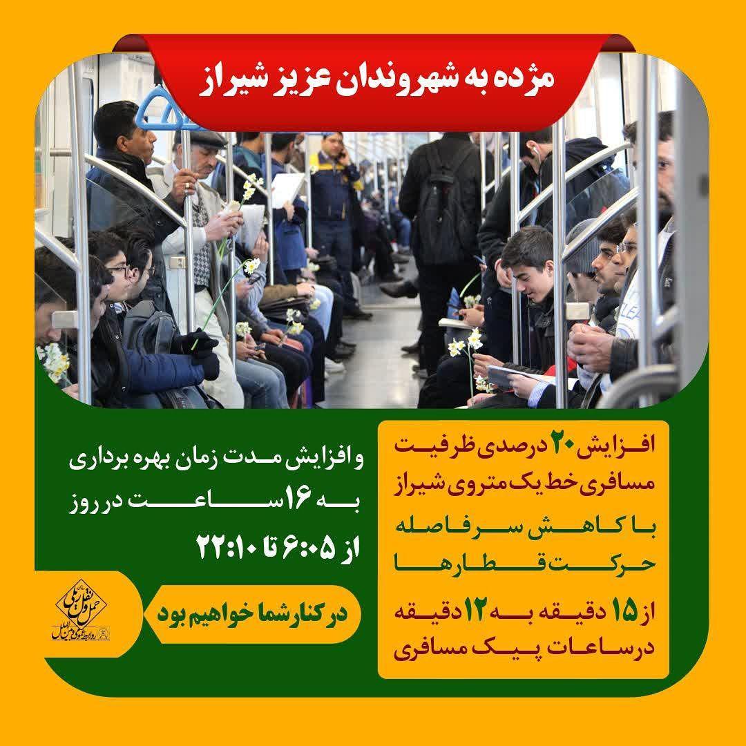 کاهش سرفاصله و افزایش ساعت بهره برداری مترو شیراز