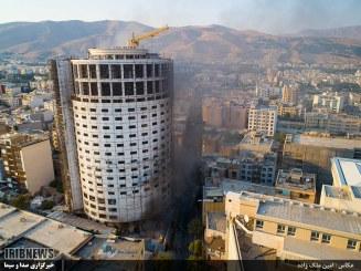 اطفا کامل حریق هتل آسمان / احتمال واژگونی سازه هتل