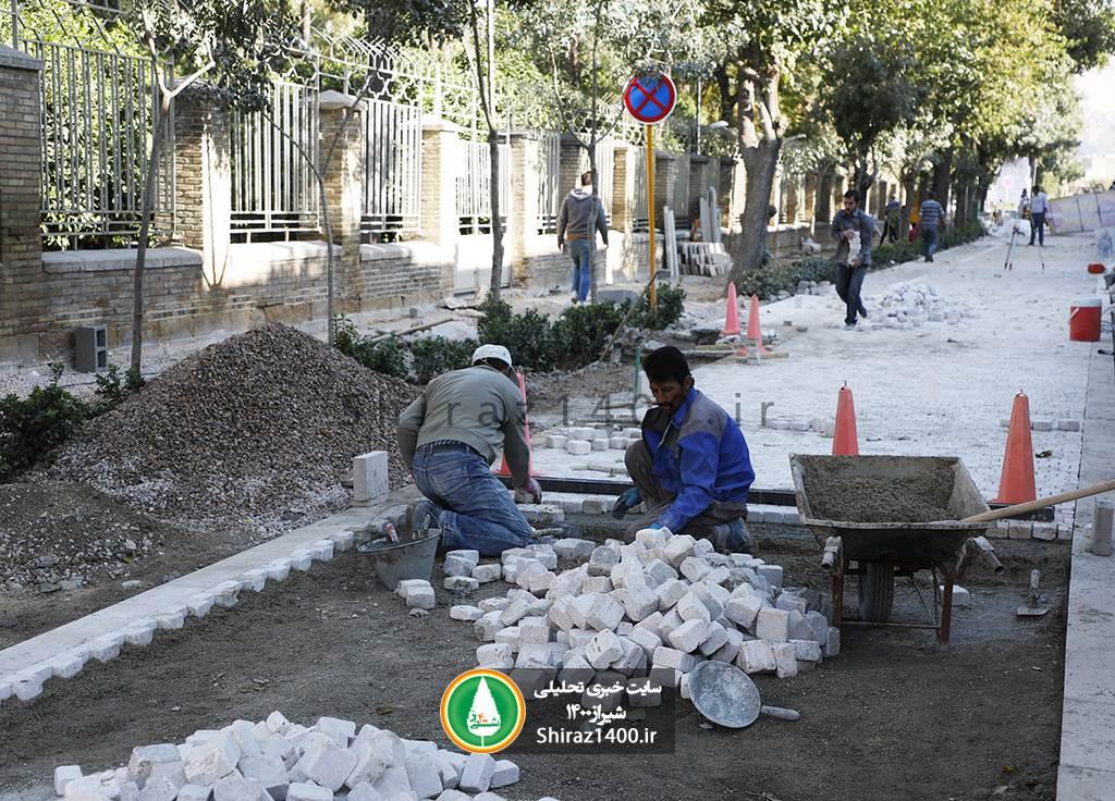 گزارش تصویری: سنگ فرش خیابان طالقانی