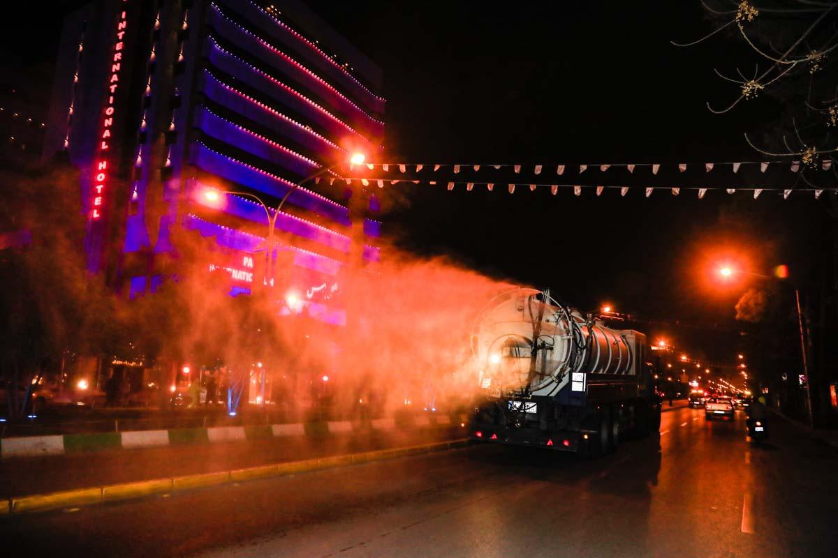 ضد عفونی معابر شیراز در جهت جلوگیری از شیوع ویروس کرونا