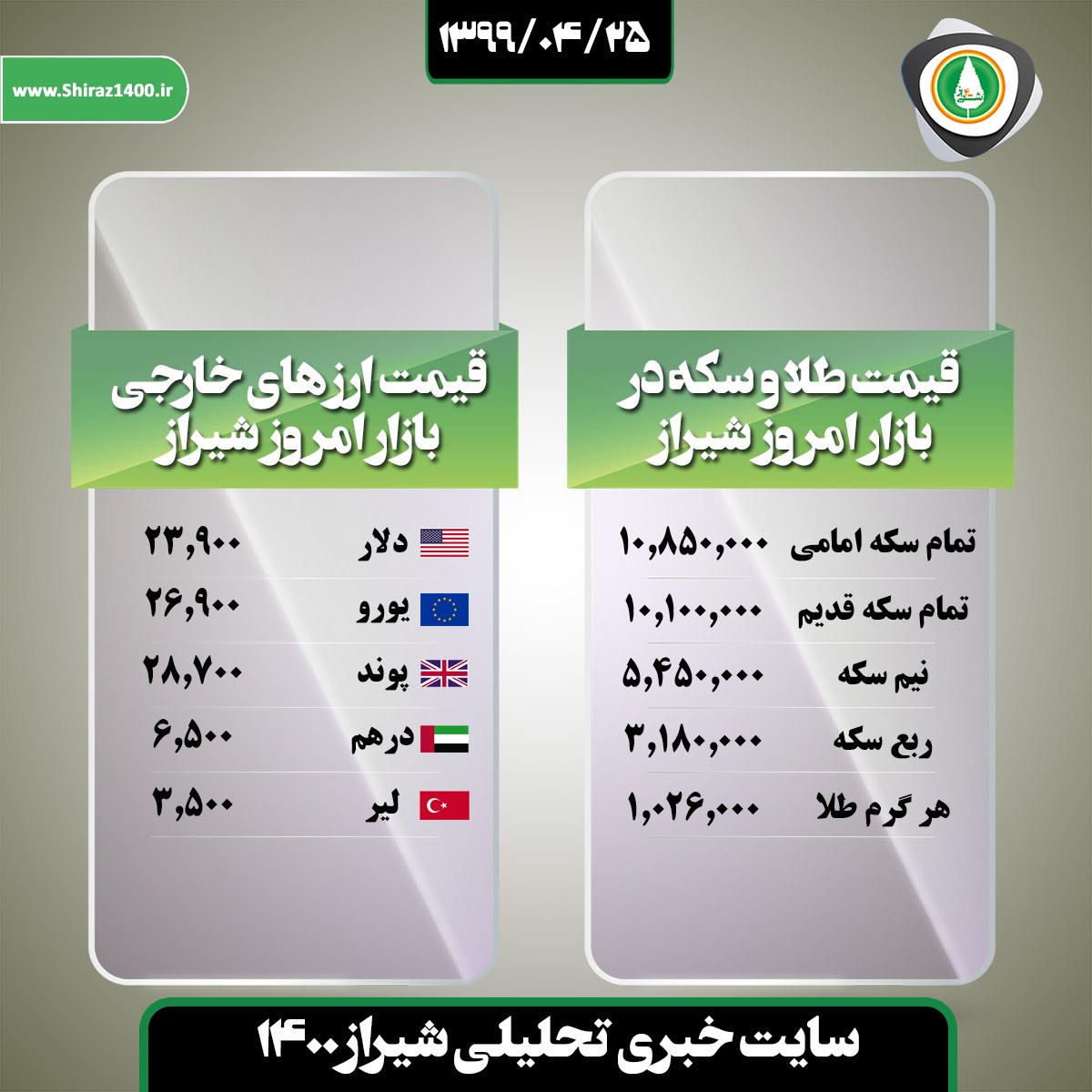 قیمت طلا و ارز در بازار امروز شیراز / ۲۵ تیر ۹۹