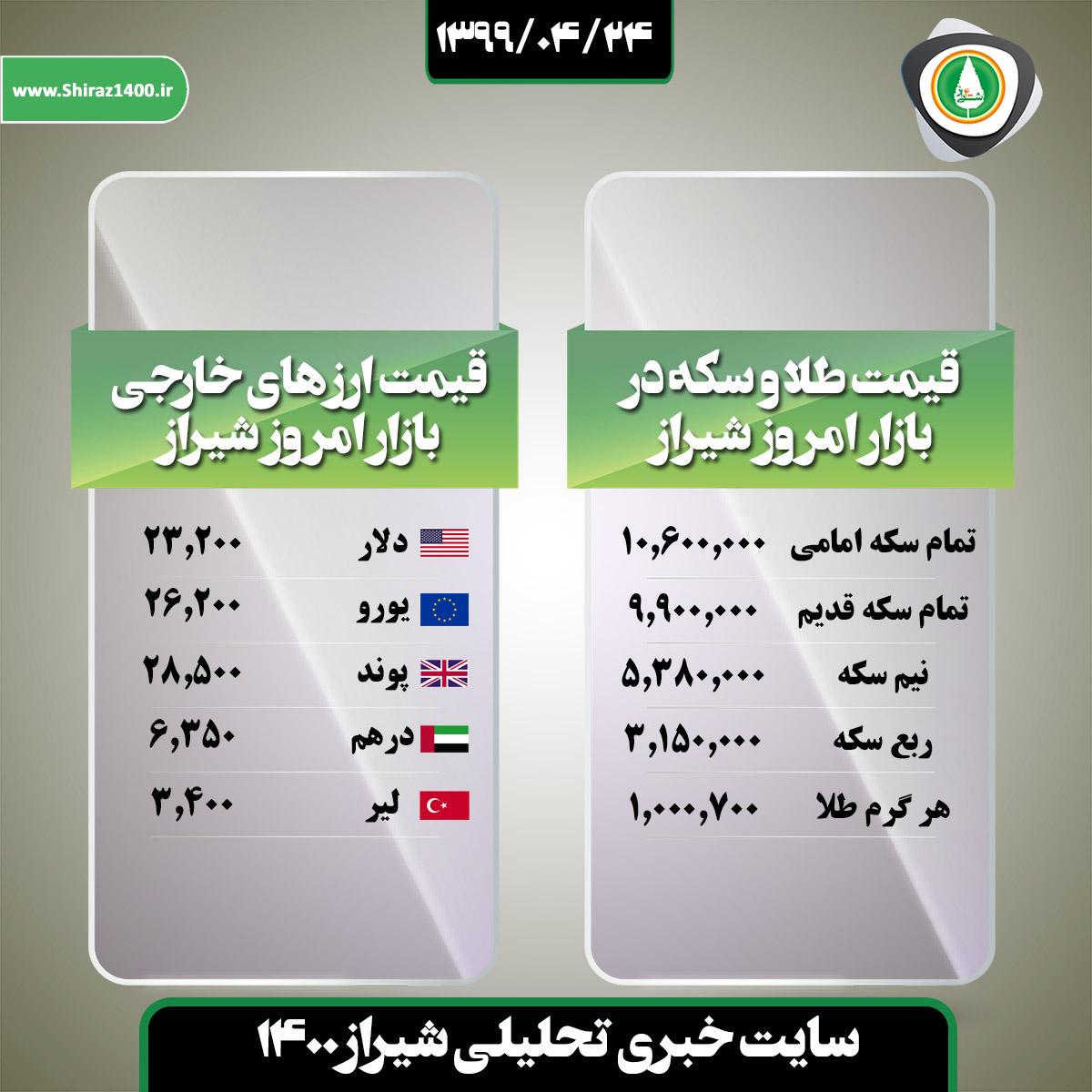 قیمت طلا و ارز در بازار امروز شیراز / ۲۴ تیر ۹۹
