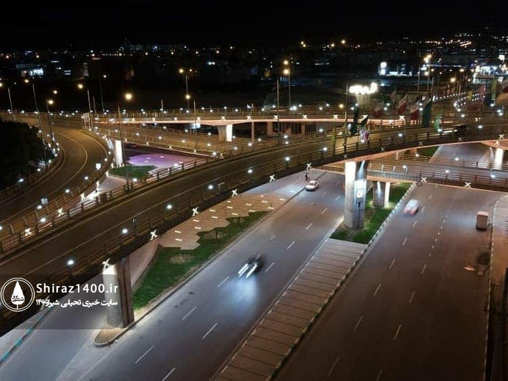نورپردازی و زیباسازی پل طبقاتی کشن شیراز